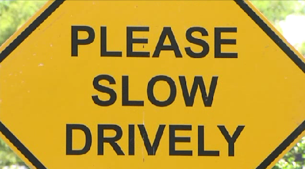 please slow drively sign