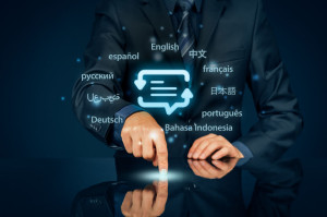 Online translator and language e-learning concepts